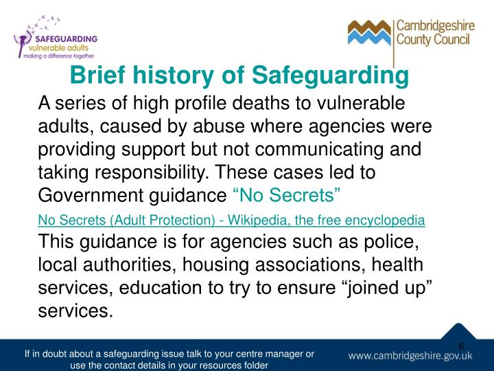 Brief history of Safeguarding