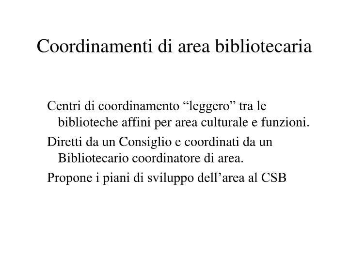 Coordinamenti di area bibliotecaria
