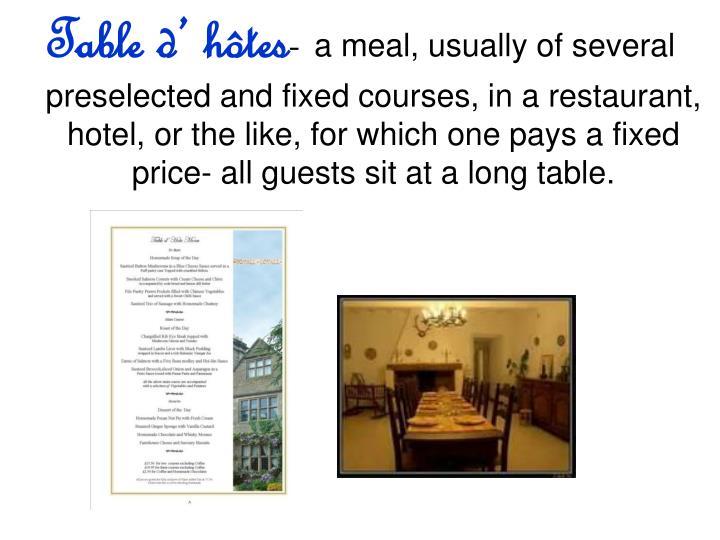 Table d' hôtes