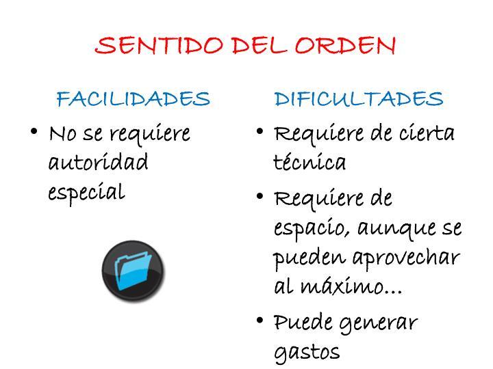 SENTIDO DEL ORDEN