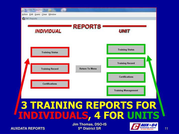 3 TRAINING REPORTS FOR
