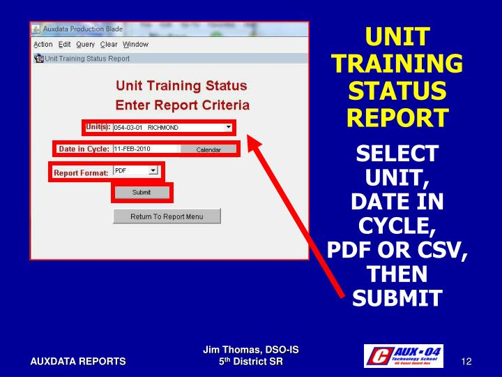 UNIT TRAINING STATUS REPORT