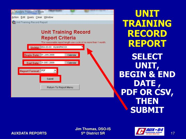UNIT TRAINING RECORD REPORT