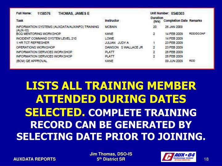 LISTS ALL TRAINING MEMBER ATTENDED DURING DATES SELECTED.