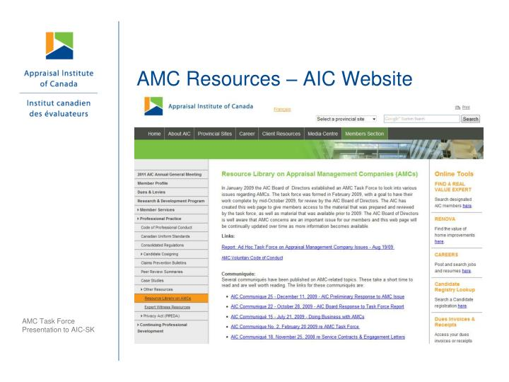 AMC Resources – AIC Website