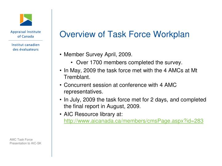 Overview of Task Force Workplan