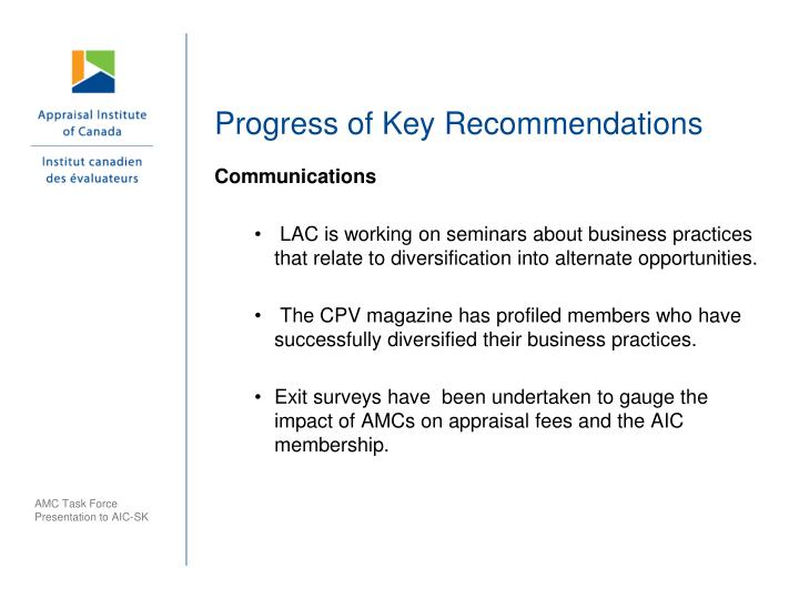 Progress of Key Recommendations