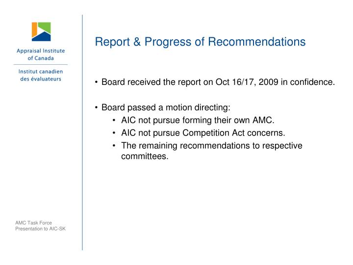 Report & Progress of Recommendations