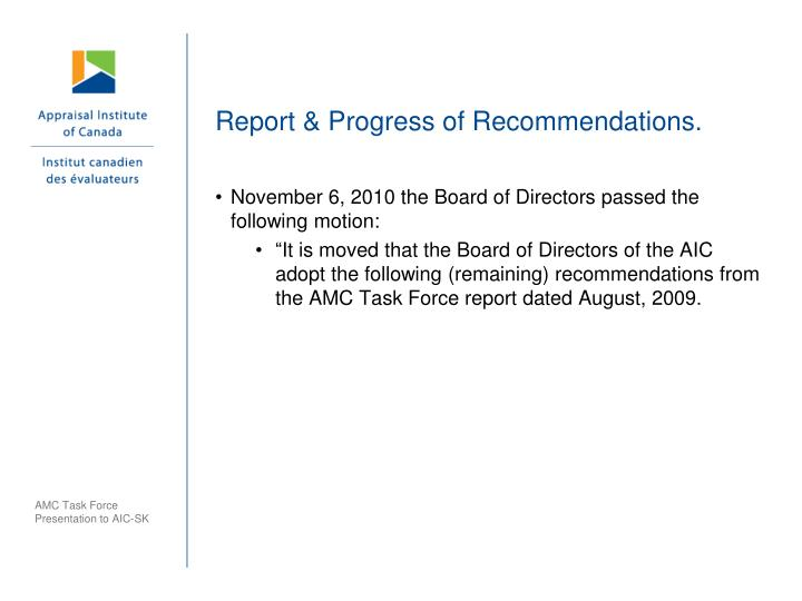 Report & Progress of Recommendations.