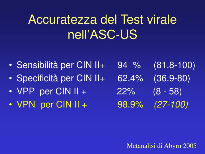 Accuratezza del Test virale nell'ASC-US