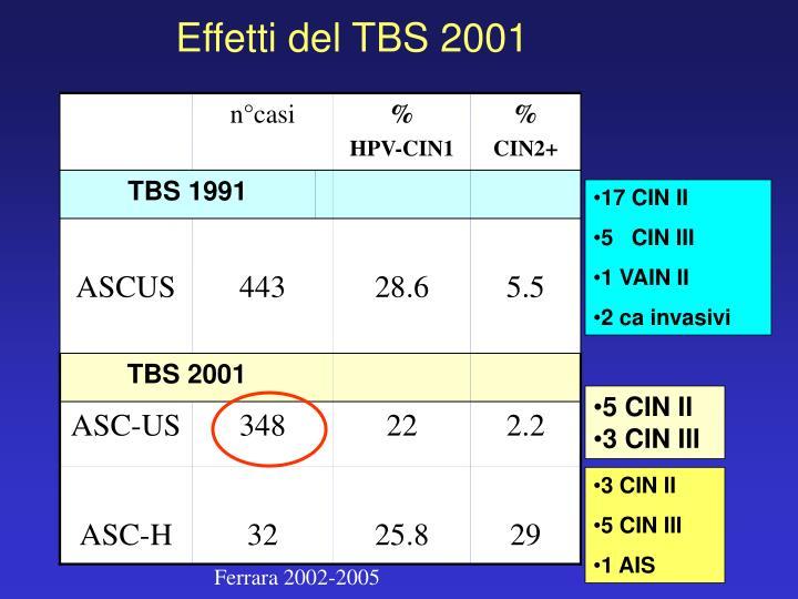 Effetti del TBS 2001