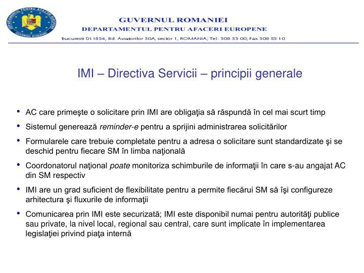 IMI – Directiva Servicii – principii generale