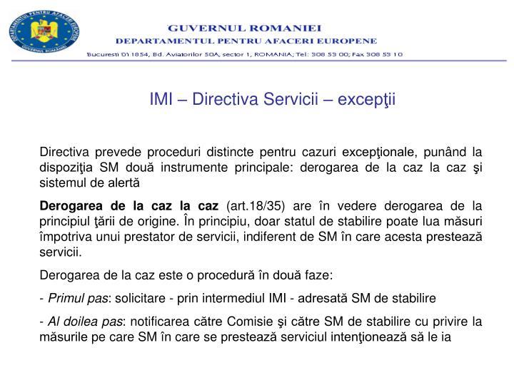 IMI – Directiva Servicii – excepţii