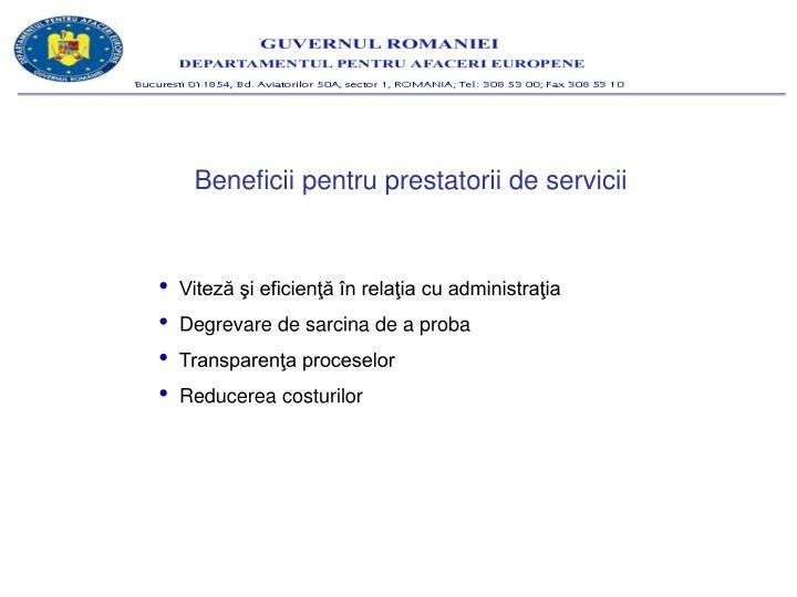Beneficii pentru prestatorii de servicii