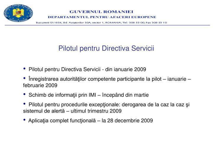 Pilotul pentru Directiva Servicii