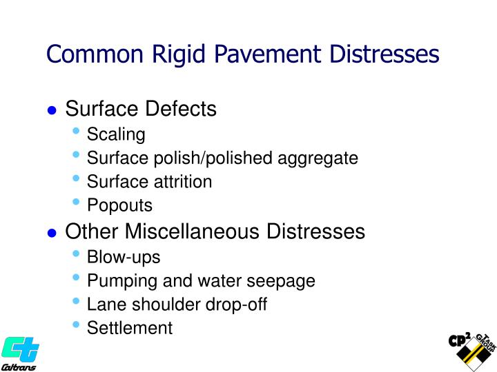 Common Rigid Pavement Distresses