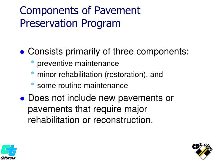 Components of Pavement Preservation Program