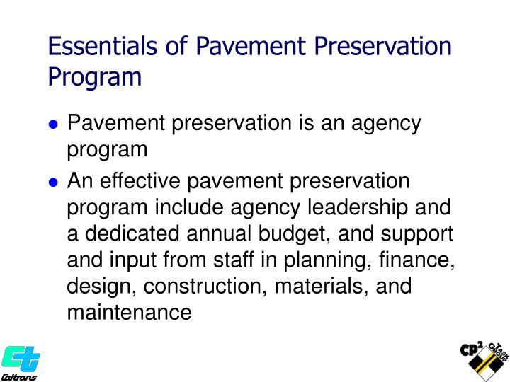 Essentials of Pavement Preservation Program