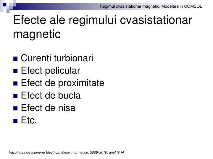 Efecte ale regimului cvasistationar magnetic
