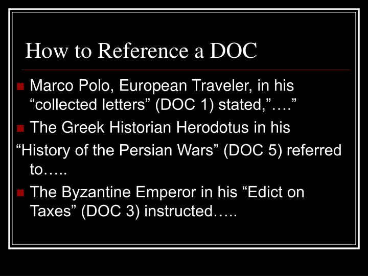 How to Reference a DOC