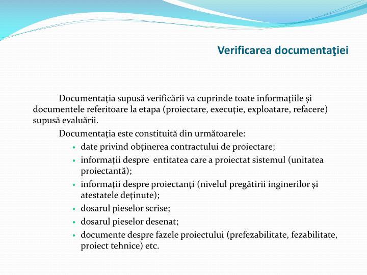 Verificarea documentaţiei