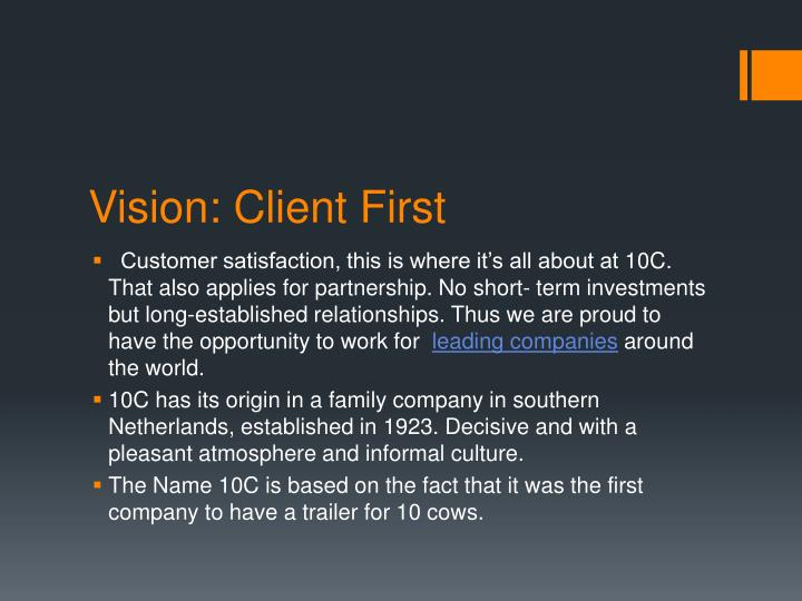 Vision: Client First