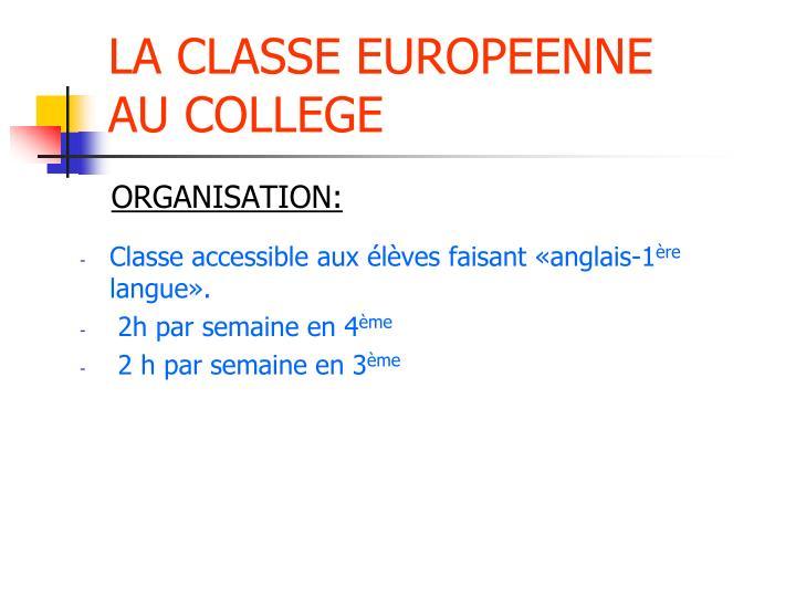 LA CLASSE EUROPEENNE
