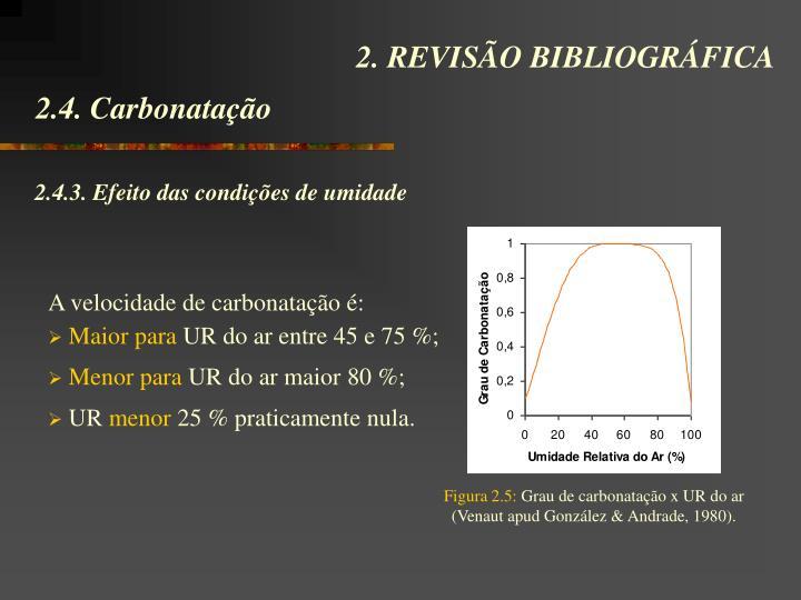 A velocidade de carbonatação é: