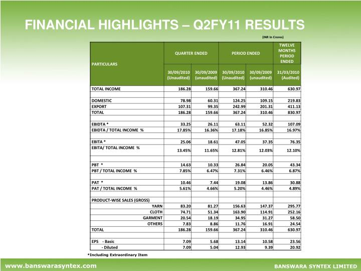 FINANCIAL HIGHLIGHTS – Q2FY11 RESULTS