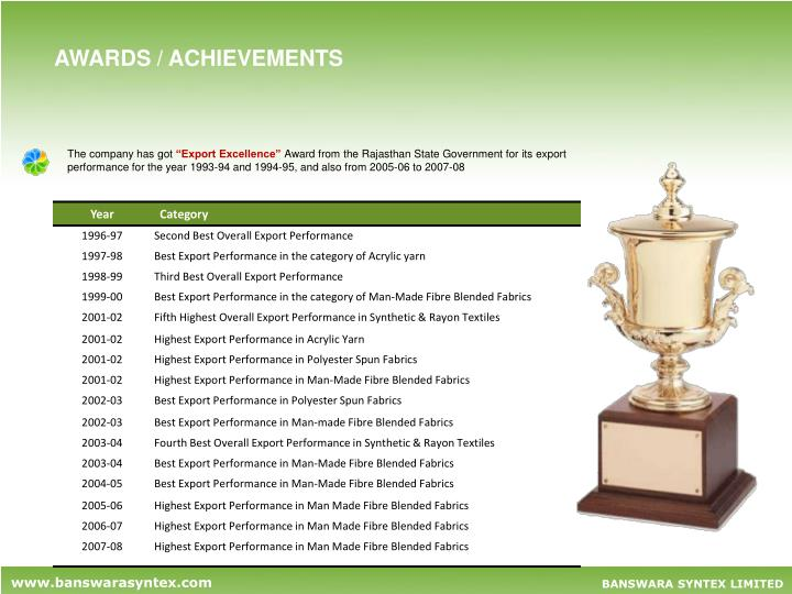 AWARDS / ACHIEVEMENTS