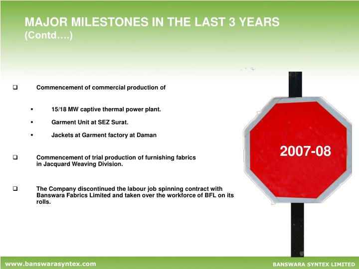 MAJOR MILESTONES IN THE LAST 3 YEARS