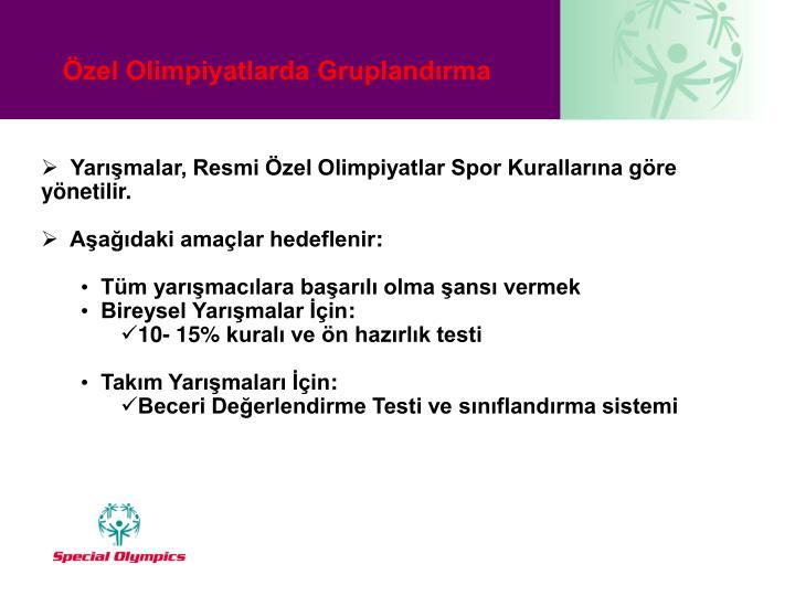 Yarışmalar, Resmi Özel Olimpiyatlar Spor Kurallarına göre yönetilir.