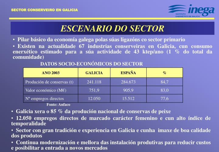 ESCENARIO DO SECTOR