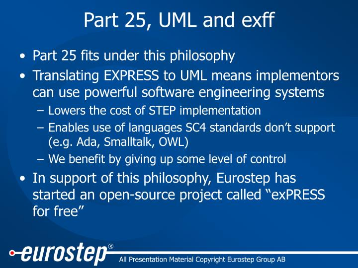 Part 25, UML and exff
