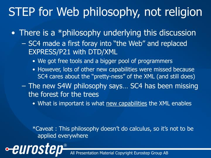 STEP for Web philosophy, not religion
