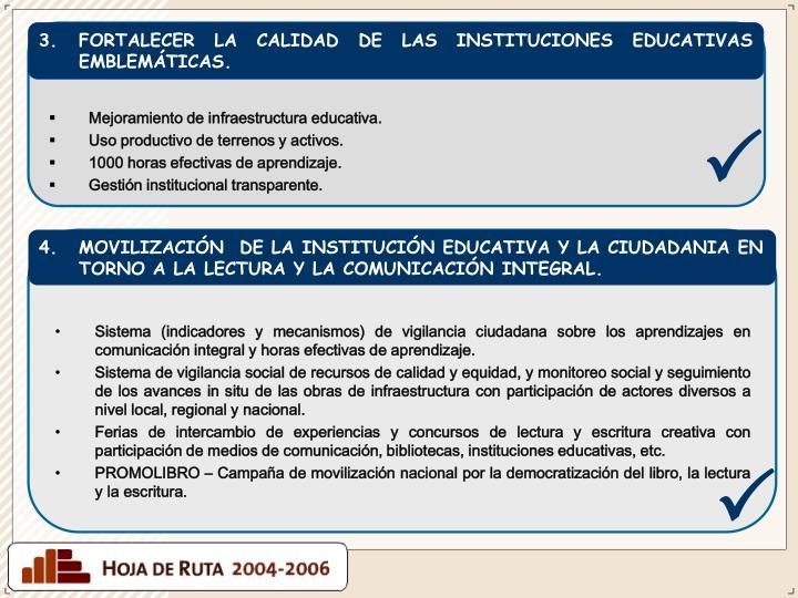 FORTALECER LA CALIDAD DE LAS INSTITUCIONES EDUCATIVAS EMBLEMÁTICAS