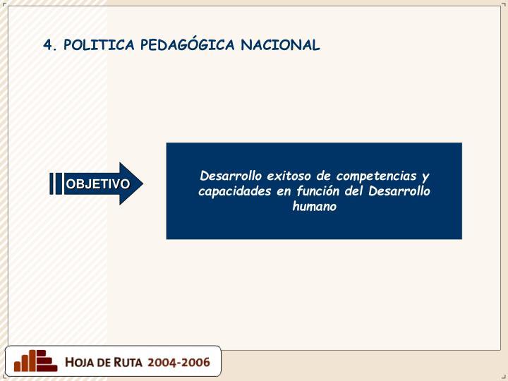 4. POLITICA PEDAGÓGICA NACIONAL