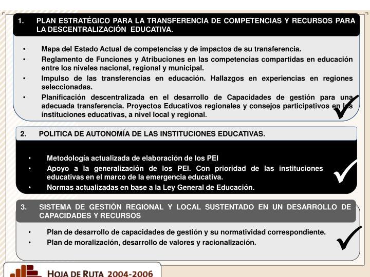 PLAN ESTRATÉGICO PARA LA TRANSFERENCIA DE COMPETENCIAS Y RECURSOS PARA LA DESCENTRALIZACIÓN  EDUCATIVA.