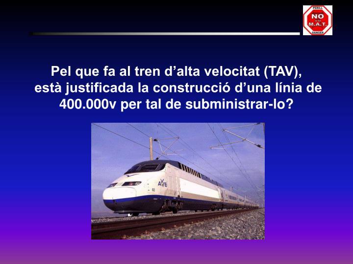 Pel que fa al tren d'alta velocitat (TAV),
