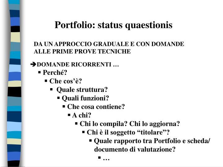 Portfolio: status quaestionis