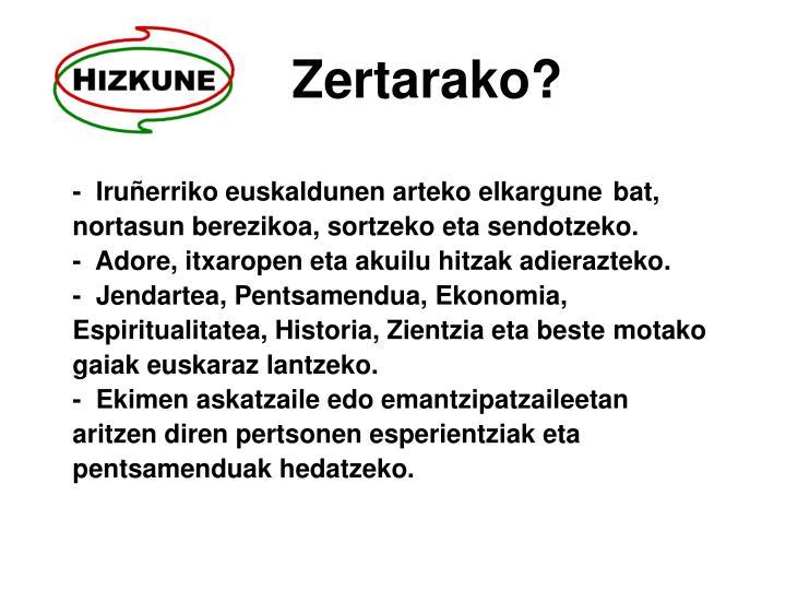 Zertarako?
