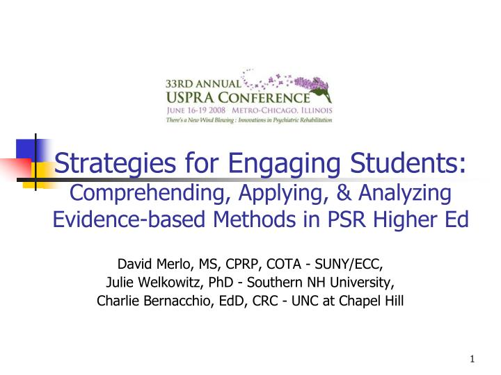 Strategies for Engaging Students: