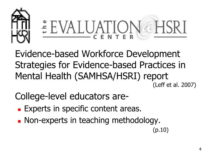 Evidence-based Workforce Development Strategies for Evidence-based Practices in Mental Health (SAMHSA/HSRI) report
