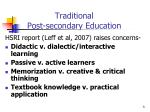 traditional post secondary education
