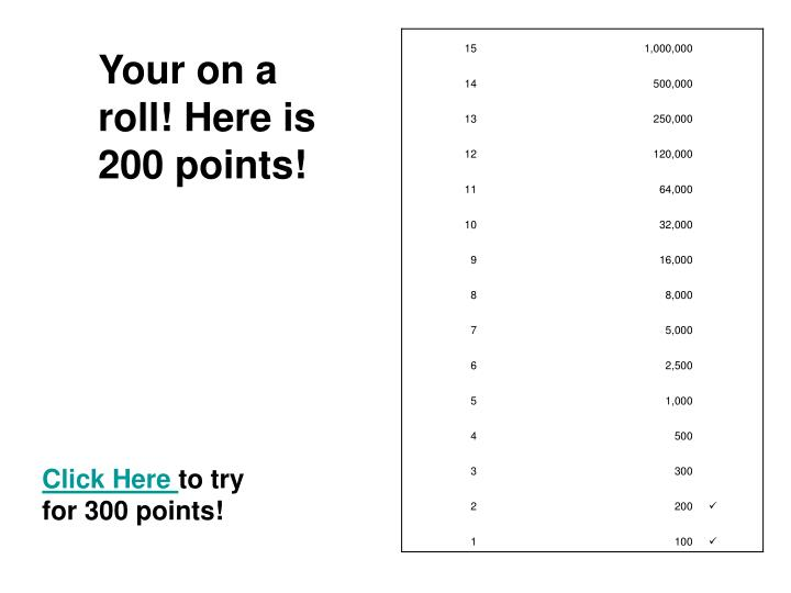 Your on a roll! Here is 200 points!