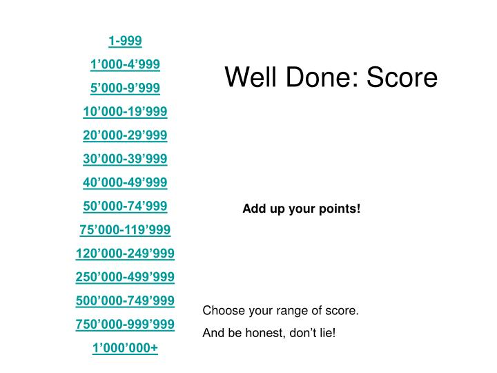 Well Done: Score