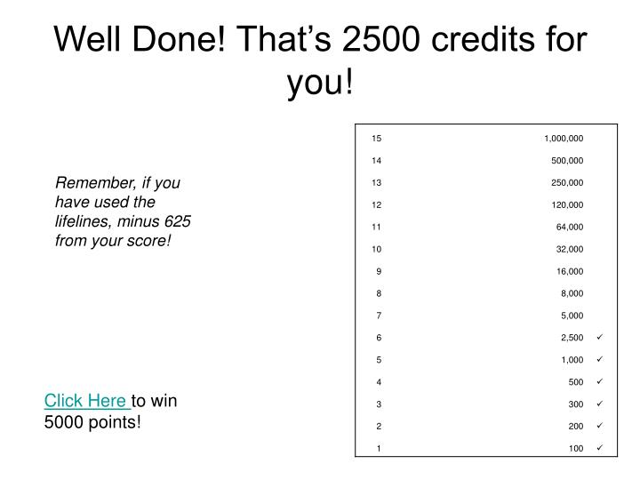 Well Done! That's 2500 credits for you!