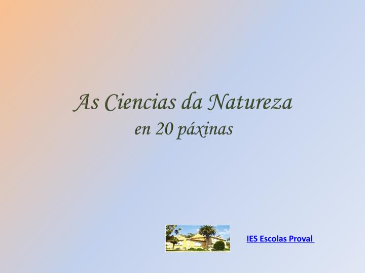 As ciencias da natureza en 20 p xinas
