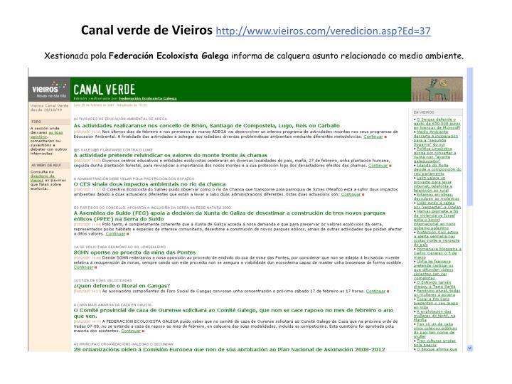 Canal verde de Vieiros