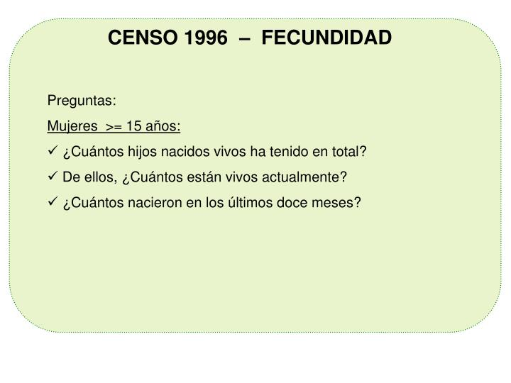 CENSO 1996  –  FECUNDIDAD